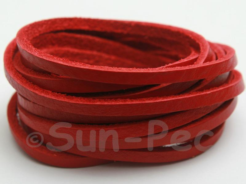 Red 3mm Flat Genuine Hide Leather Thong Cord 1 meter 1pcs - 10pcs