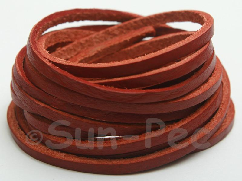 Red Coffee 3mm Flat Genuine Hide Leather Thong Cord 1 meter 1pcs - 10pcs