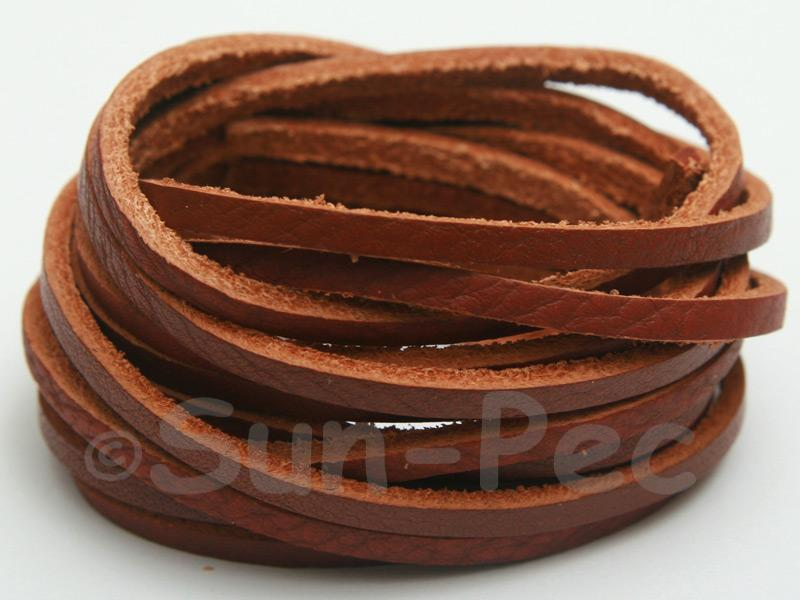 Coffee 3mm Flat Genuine Hide Leather Thong Cord 1 meter 1pcs - 10pcs