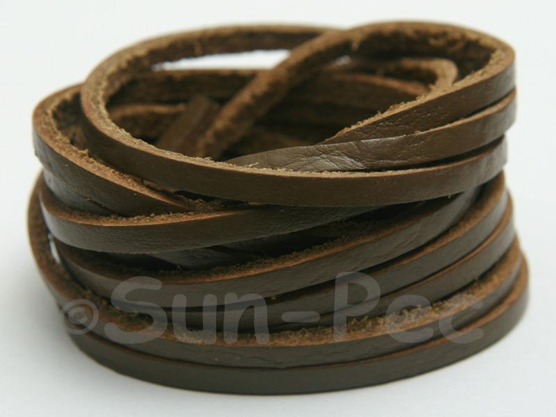 Khaki Green 3mm Flat Genuine Hide Leather Thong Cord 1 meter 1pcs - 10pcs