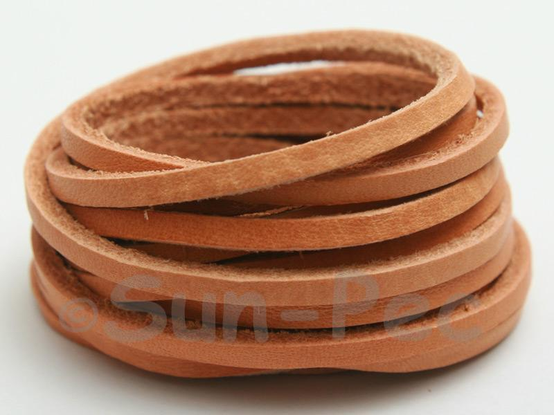 Neutral 3mm Flat Genuine Hide Leather Thong Cord 1 meter 1pcs - 10pcs