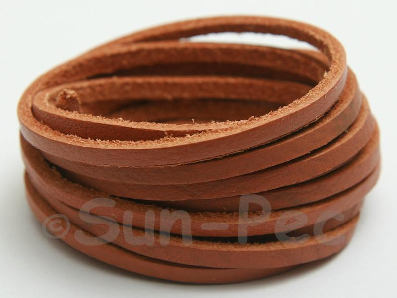 Tan 3mm Flat Genuine Hide Leather Thong Cord 1 meter 1pcs - 10pcs