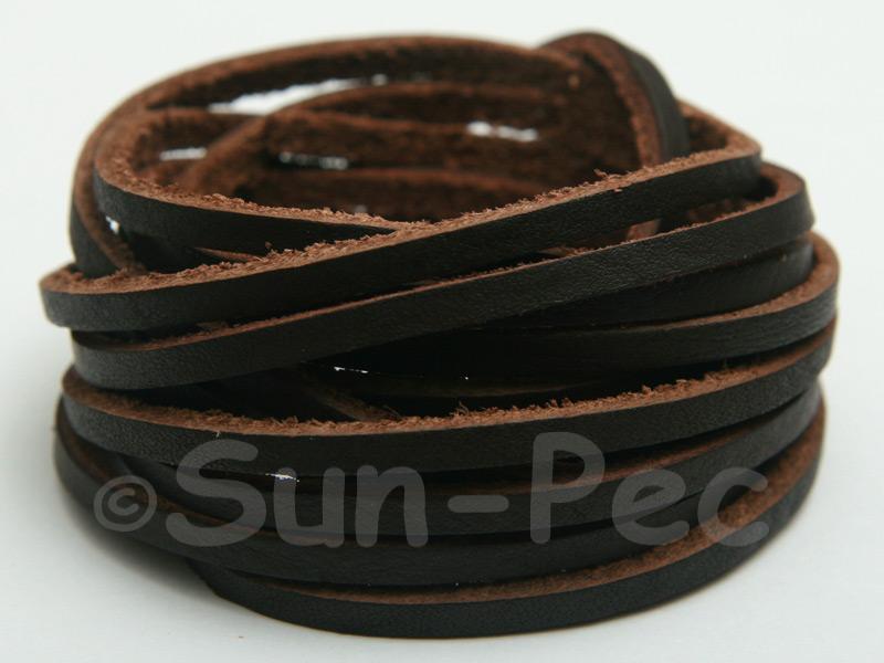Dark Coffee 3mm Flat Genuine Hide Leather Thong Cord 1 meter 1pcs - 10pcs