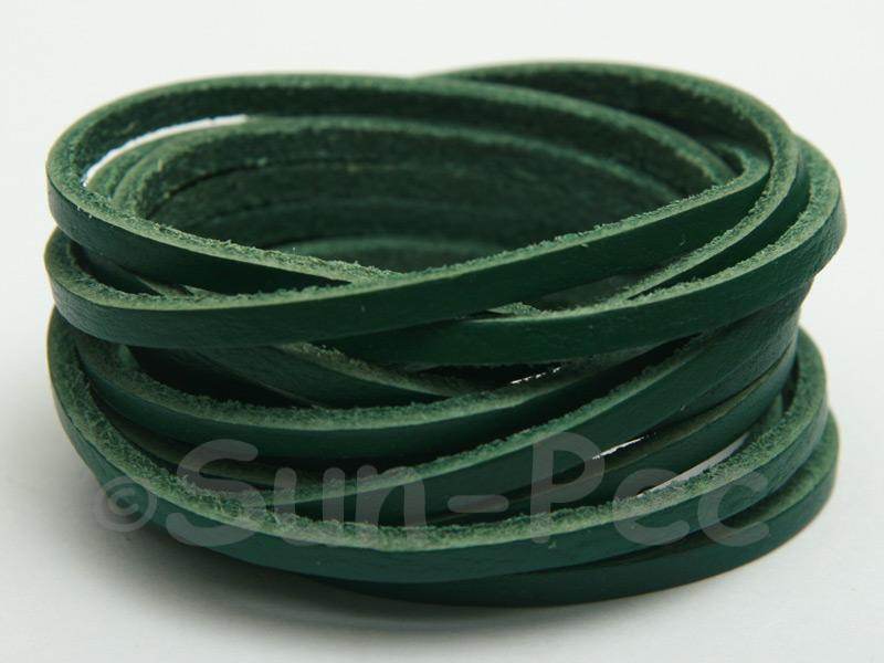 Green 3mm Flat Genuine Hide Leather Thong Cord 1 meter 1pcs - 10pcs