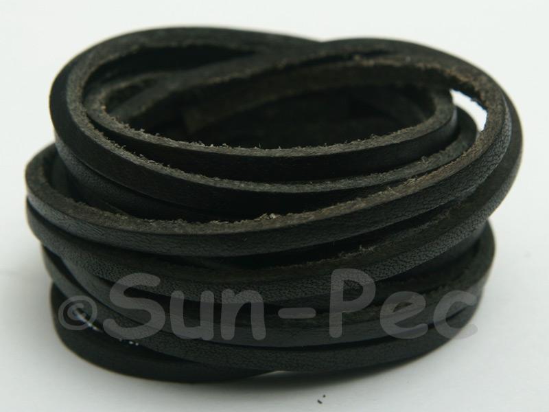 Black 3mm Flat Genuine Hide Leather Thong Cord 1 meter 1pcs - 10pcs