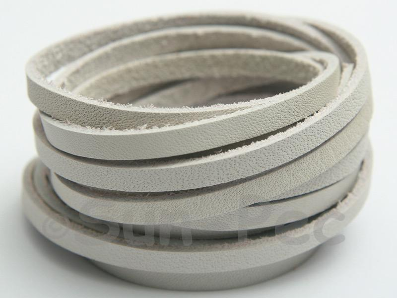 Ivory White 4mm Flat Genuine Hide Leather Thong Cord 1 meter 1pcs - 10pcs