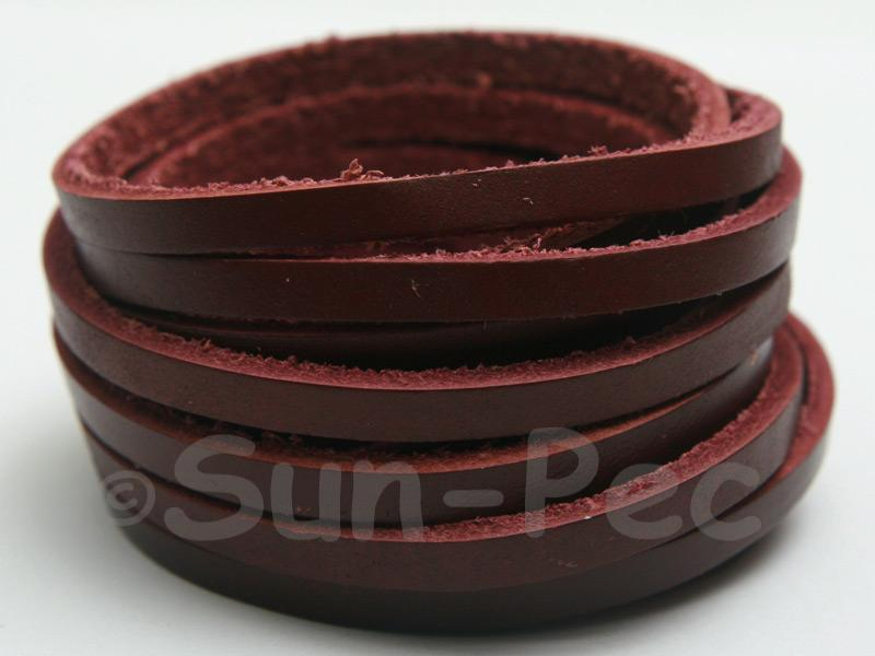 Wine Red 4mm Flat Genuine Hide Leather Thong Cord 1 meter 1pcs - 10pcs