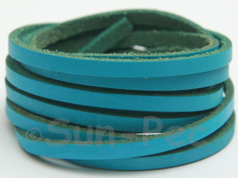 Blue 4mm Flat Genuine Hide Leather Thong Cord 1 meter 1pcs - 10pcs