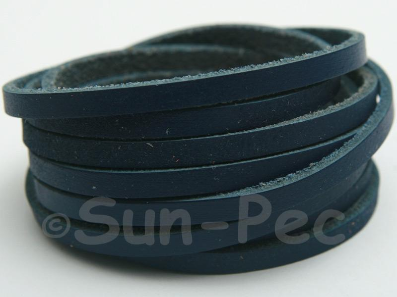Dark Blue 4mm Flat Genuine Hide Leather Thong Cord 1 meter 1pcs - 10pcs