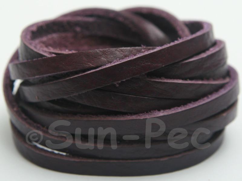 Purple 4mm Flat Genuine Hide Leather Thong Cord 1 meter 1pcs - 10pcs