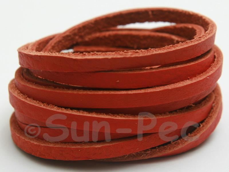 Rusty Orange 4mm Flat Genuine Hide Leather Thong Cord 1 meter 1pcs - 10pcs