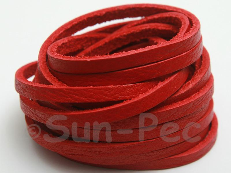 Red 4mm Flat Genuine Hide Leather Thong Cord 1 meter 1pcs - 10pcs