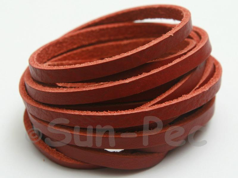 Red Coffee 4mm Flat Genuine Hide Leather Thong Cord 1 meter 1pcs - 10pcs