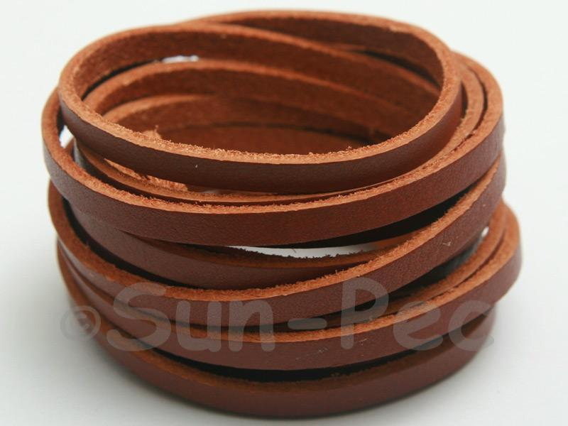 Coffee 4mm Flat Genuine Hide Leather Thong Cord 1 meter 1pcs - 10pcs