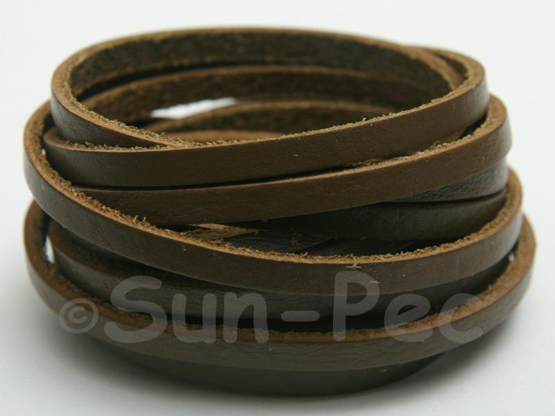 Khaki Green 4mm Flat Genuine Hide Leather Thong Cord 1 meter 1pcs - 10pcs