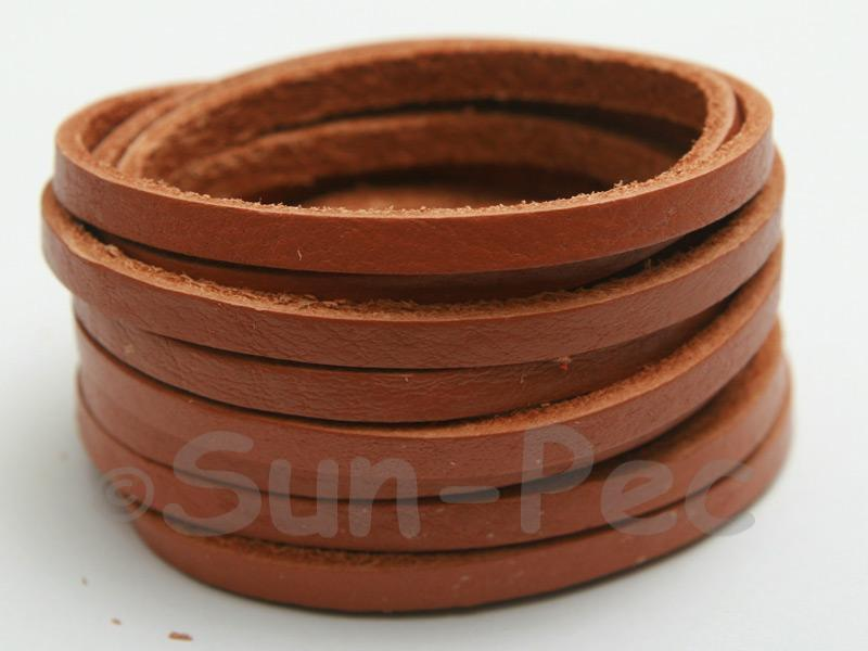 Tan 4mm Flat Genuine Hide Leather Thong Cord 1 meter 1pcs - 10pcs