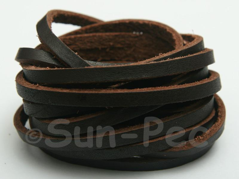 Dark Coffee 4mm Flat Genuine Hide Leather Thong Cord 1 meter 1pcs - 10pcs