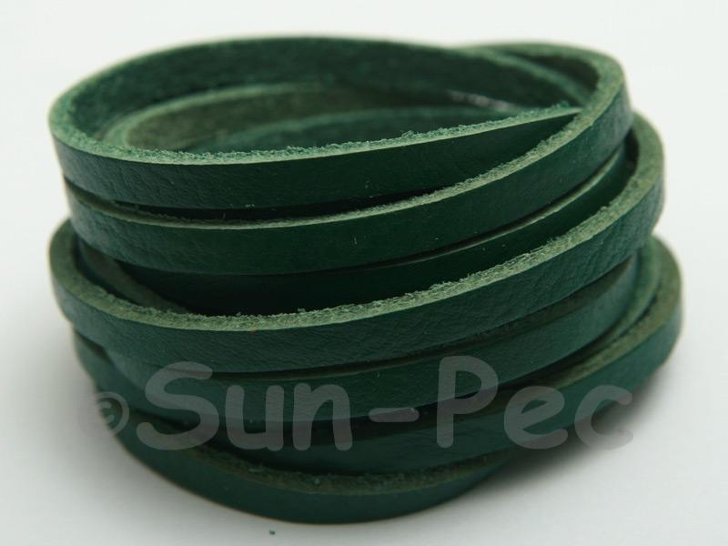 Green 4mm Flat Genuine Hide Leather Thong Cord 1 meter 1pcs - 10pcs