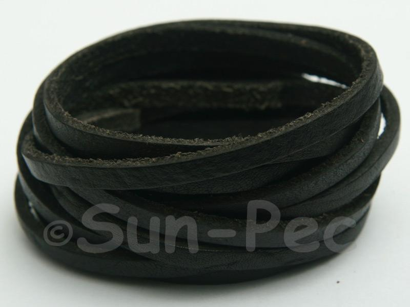 Black 4mm Flat Genuine Hide Leather Thong Cord 1 meter 1pcs - 10pcs