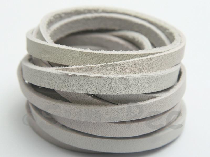 Ivory White 5mm Flat Genuine Hide Leather Thong Cord 1 meter 1pcs - 10pcs