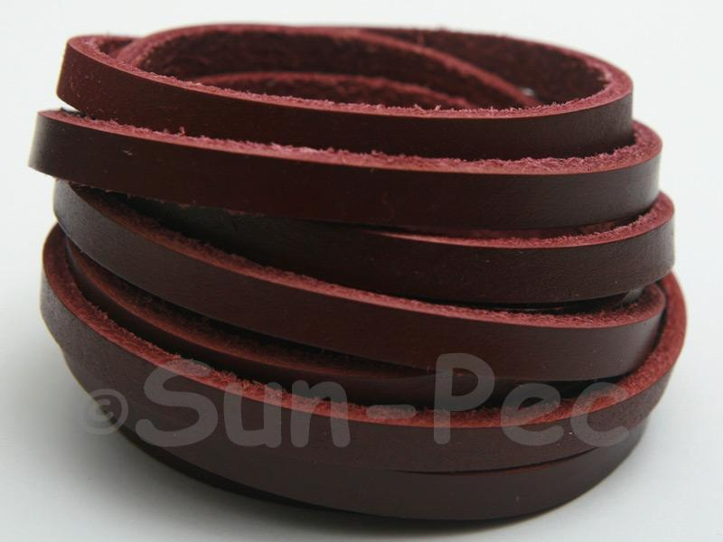 Wine Red 5mm Flat Genuine Hide Leather Thong Cord 1 meter 1pcs - 10pcs