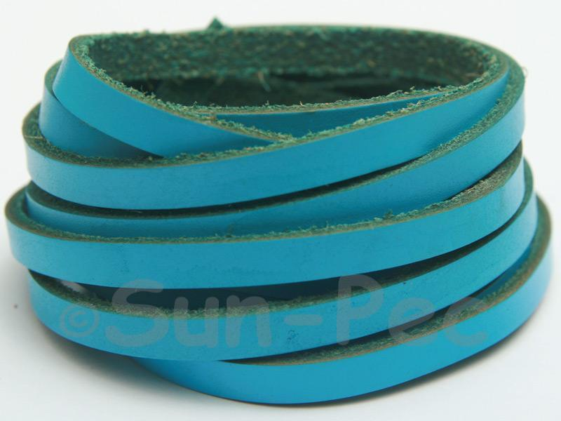 Blue 5mm Flat Genuine Hide Leather Thong Cord 1 meter 1pcs - 10pcs