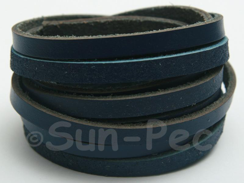 Dark Blue 5mm Flat Genuine Hide Leather Thong Cord 1 meter 1pcs - 10pcs