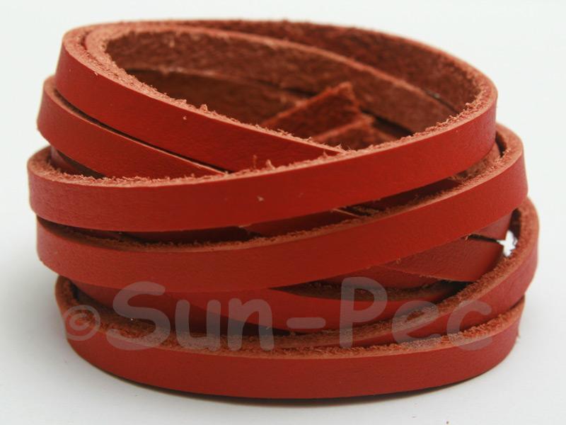 Rusty Orange 5mm Flat Genuine Hide Leather Thong Cord 1 meter 1pcs - 10pcs