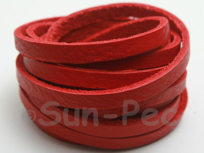 Red 5mm Flat Genuine Hide Leather Thong Cord 1 meter 1pcs - 10pcs