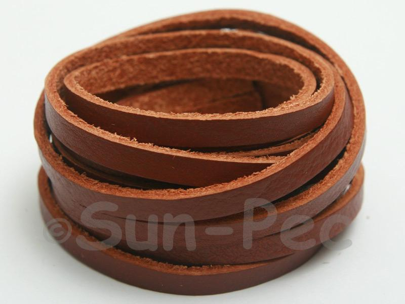 Coffee 5mm Flat Genuine Hide Leather Thong Cord 1 meter 1pcs - 10pcs