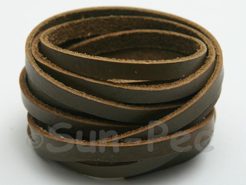 Khaki Green 5mm Flat Genuine Hide Leather Thong Cord 1 meter 1pcs - 10pcs