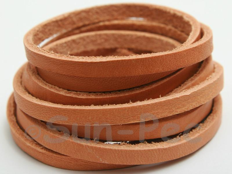 Neutral 5mm Flat Genuine Hide Leather Thong Cord 1 meter 1pcs - 10pcs