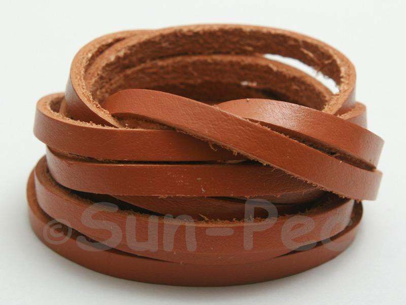 Tan 5mm Flat Genuine Hide Leather Thong Cord 1 meter 1pcs - 10pcs