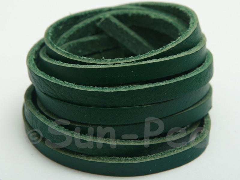 Green 5mm Flat Genuine Hide Leather Thong Cord 1 meter 1pcs - 10pcs