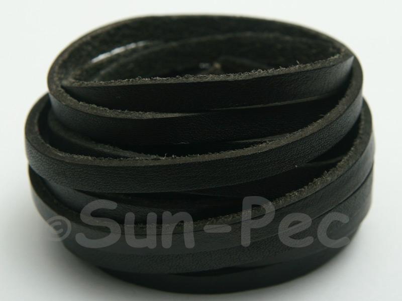 Black 5mm Flat Genuine Hide Leather Thong Cord 1 meter 1pcs - 10pcs