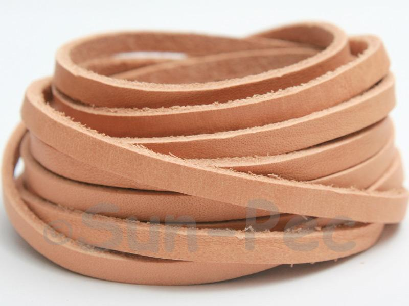 Lighter Neutral 5mm Flat Genuine Hide Leather Thong Cord 1 meter 1pcs - 10pcs