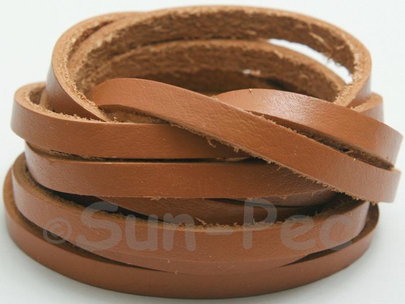 Light Brown 5mm Flat Genuine Hide Leather Thong Cord 1 meter 1pcs - 10pcs