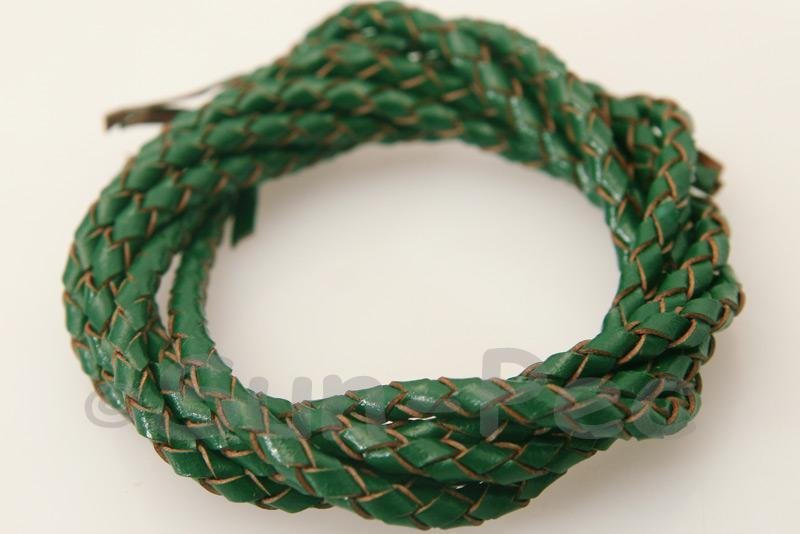 Dark Green 3mm Braided Genuine Hide Leather Cord 1m - 5m