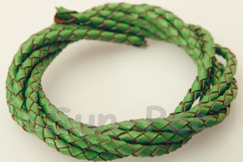 Grass-green 3mm Braided Genuine Hide Leather Cord 1m - 5m