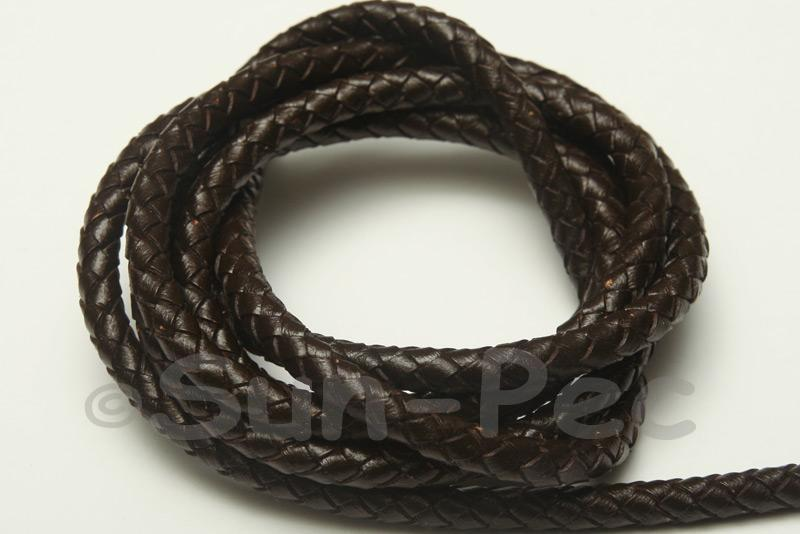 Black coffee 6mm Braided Genuine Hide Leather Cord 1m - 6m