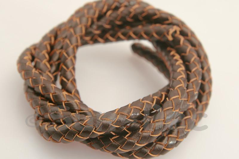 Coffee 6mm Braided Genuine Hide Leather Cord 1m - 5m