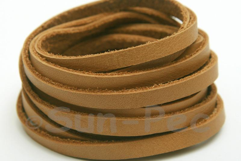 Yellow Coffee 5mm Flat Genuine Hide Leather Thong Cord 1 meter 1pcs