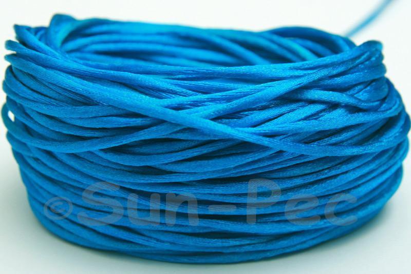 Bright Blue 1.5mm Satin Rattail Knotting Cord 5m - 50m