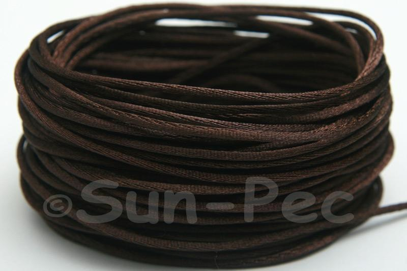 Dark Coffee 1.5mm Satin Rattail Knotting Cord 5m - 50m