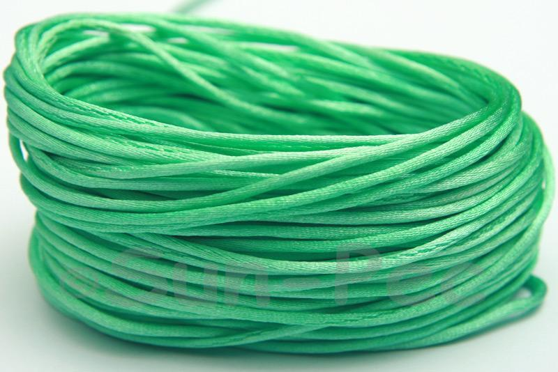 Green 1.5mm Satin Rattail Knotting Cord 5m - 50m