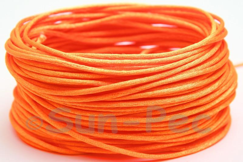 Hot Orange 1.5mm Satin Rattail Knotting Cord 5m - 50m