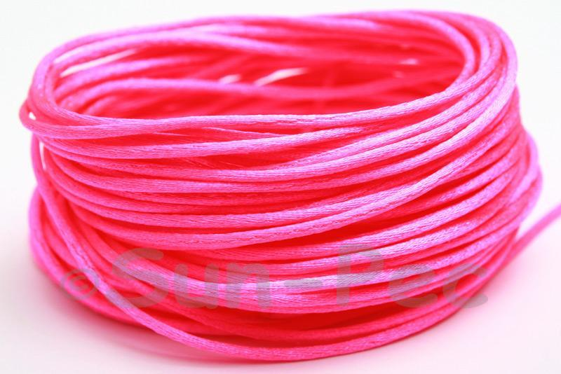 Hot Pink 1.5mm Satin Rattail Knotting Cord 5m - 50m