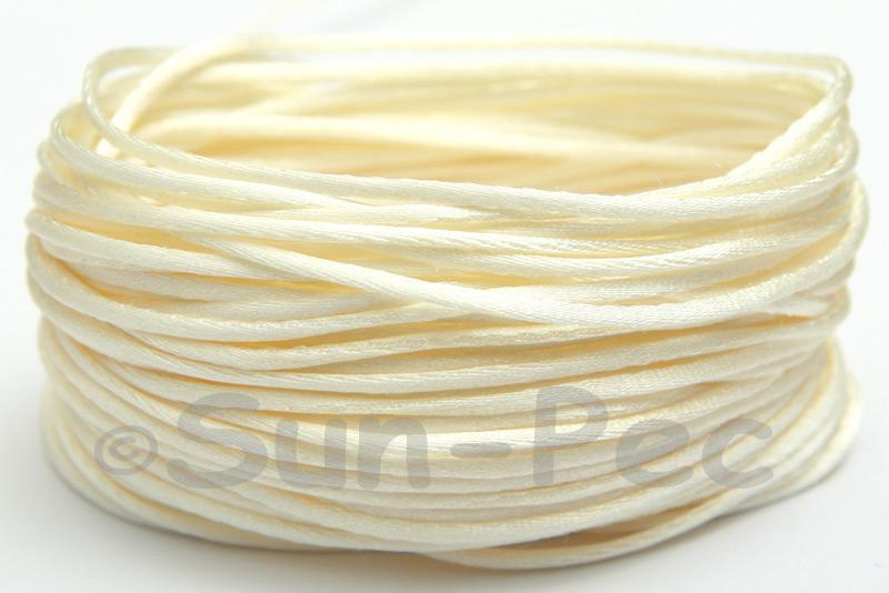 Ivory 1.5mm Satin Rattail Knotting Cord 5m - 50m
