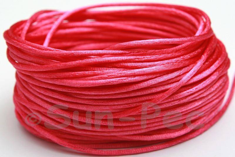 Rose 1.5mm Satin Rattail Knotting Cord 5m - 50m