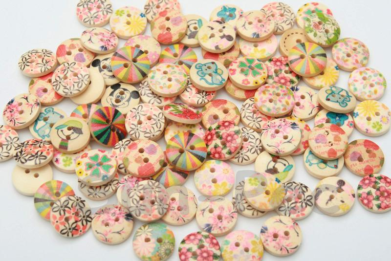 15mm Assorted Decorative Wooden Buttons 10pcs - 50pcs